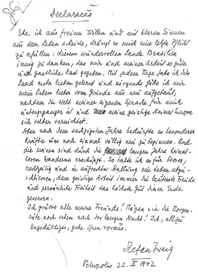 lettre suicide stefan zweig