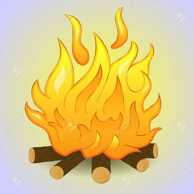 Bonfire isolated with wood and flame fire on grey background. Simple cartoon style. Vector illustration