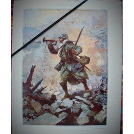 reproduction-datant-de-1918-1920-d-une-aquarelle-de-paul-thiriat-representant-le-clairon-sonnant-a-11-heures-du-matin-le-cessez-le-feu-le-11-novembre-1918-sur-une-tranchee-grande-guerre-