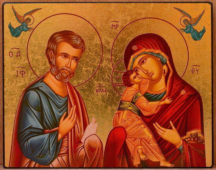 icone-qualite-or-la-sainte-famille-et-anges-10-cm-x-12-cm