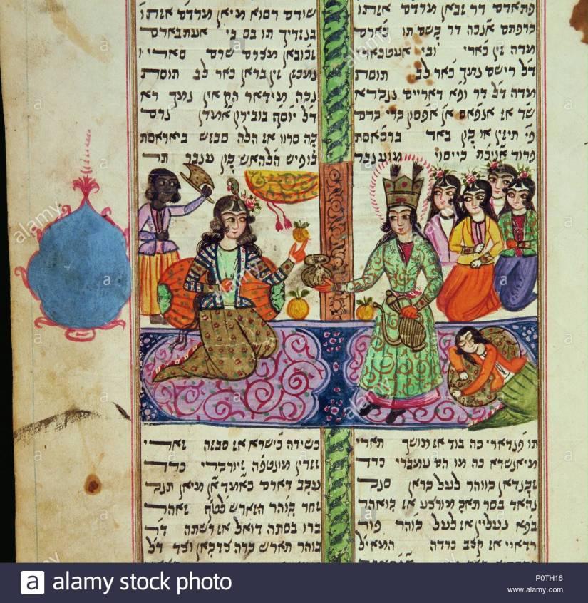 la-reine-esther-supplie-roi-ahasver-de-clemence-envers-les-juifs-de-perse-page-dun-meguilat-esther-le-livre-biblique-desther-lu-lors-de-la-fete-de-pourim-manuscrit-persan-judeo-persian-ecrit-en-cara