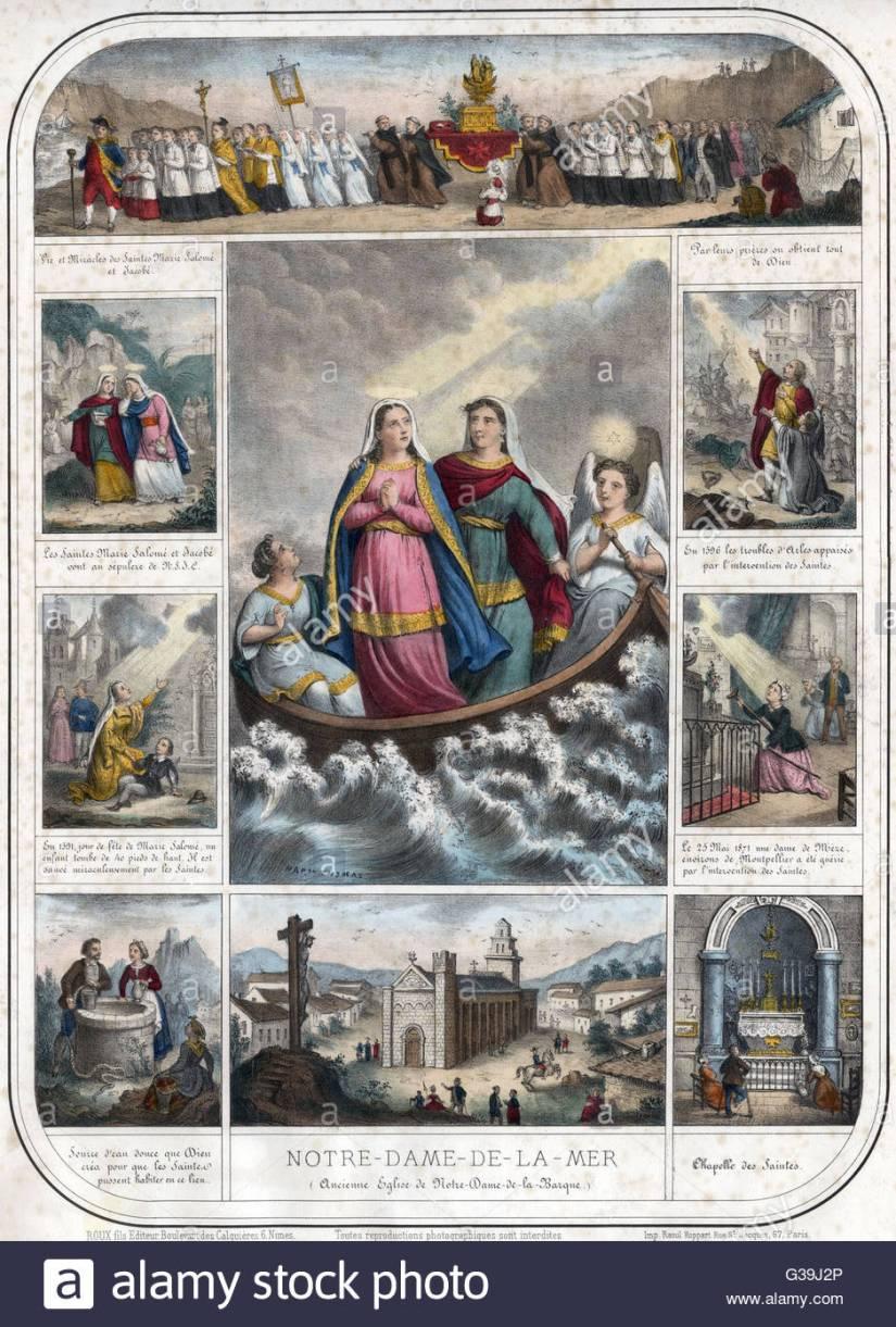 les-saintes-maries-marie-jacobe-et-marie-salome-le-saint-marys-naviguer-de-la-palestine-a-la-cote-francaise-ou-ils-atterrissent-a-saintes-maries-de-la-mer-date-debut-de-lannonce-g39j2p