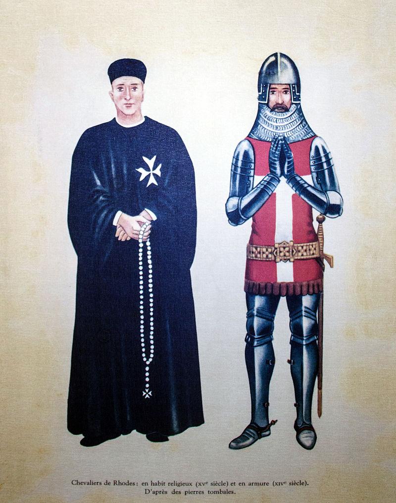 Chevalier_de_Rhodes,_en_habit_religieux_(XVe_siecle)_et_en_armure_(XIVe_siecle),_d'apres_des_pierres_tombales.jpg