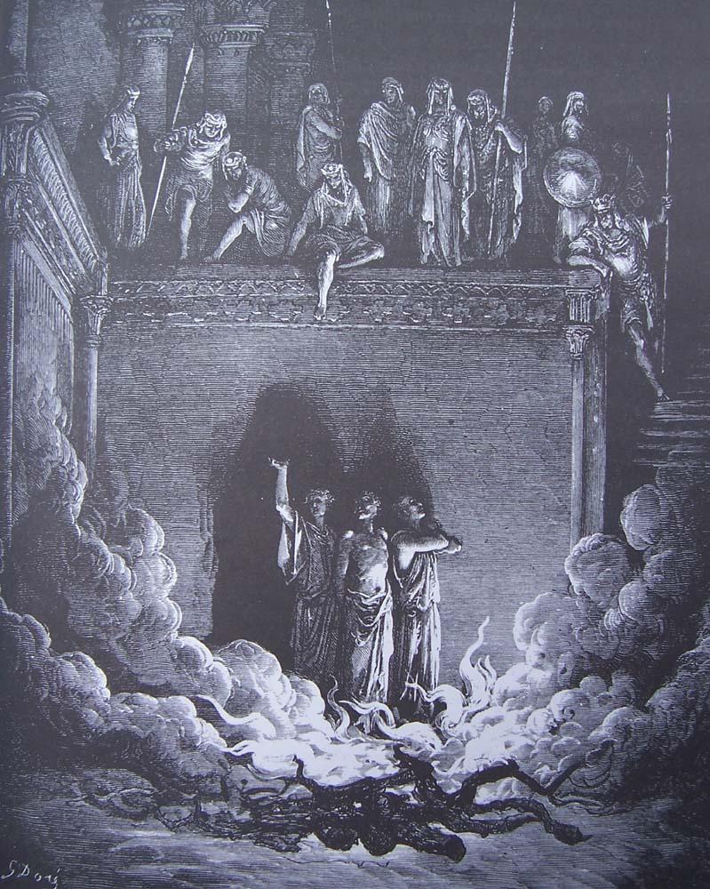 gravure dore bible - les trois jeunes hommes dans la fournaise