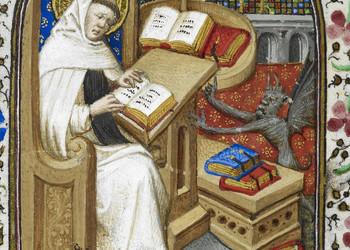 Saint-Bernard-Clairvaux-ecrivant-bureau-alors-demon-sagite-Miniature-extraite-Livre-dheures-maitre-Dunois-1439-1450_0_350_250