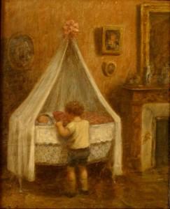 Pierre-regarde-sa-petite-soeur-au-berceau-1931-243x300