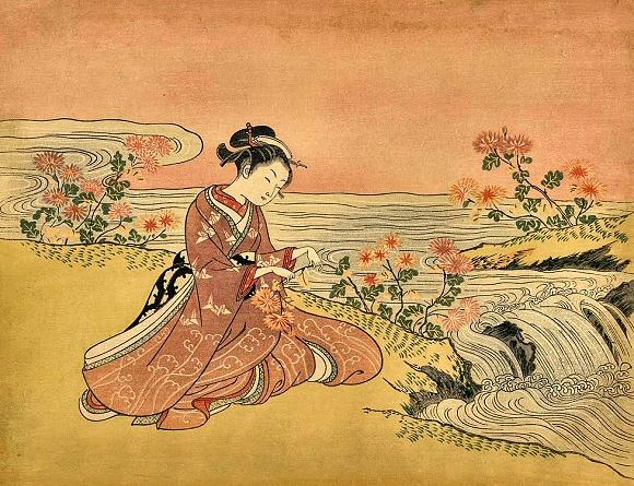 Harunobu-Femme-Chrysantemes