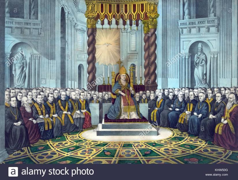 illustration-representant-le-premier-concile-oecumenique-du-vatican-le-pape-pie-ix-1792-a-1878-assis-sur-un-trone-au-centre-avec-divers-membres-du-clerge-derriere-lui-de-gauche-a-droite-en-date-du-19e-si