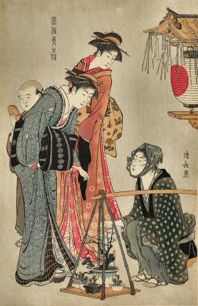 Kiyonaga-Femmes-Bonsai
