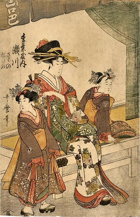 Utamaro-Courtisane-Serviteurs